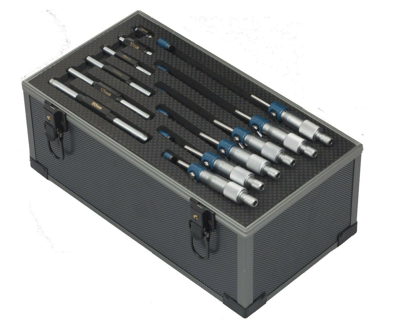 150 mm x 0.01 Range Metric Graduation. Dasqua 6 Pc Outside Micrometer Set 0