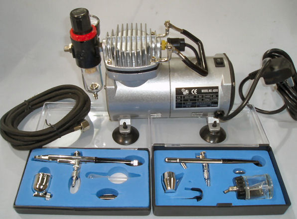 COMPLETE AIRBRUSH KIT (2 AIRBRUSHES + COMPRESSOR +  HOSE)