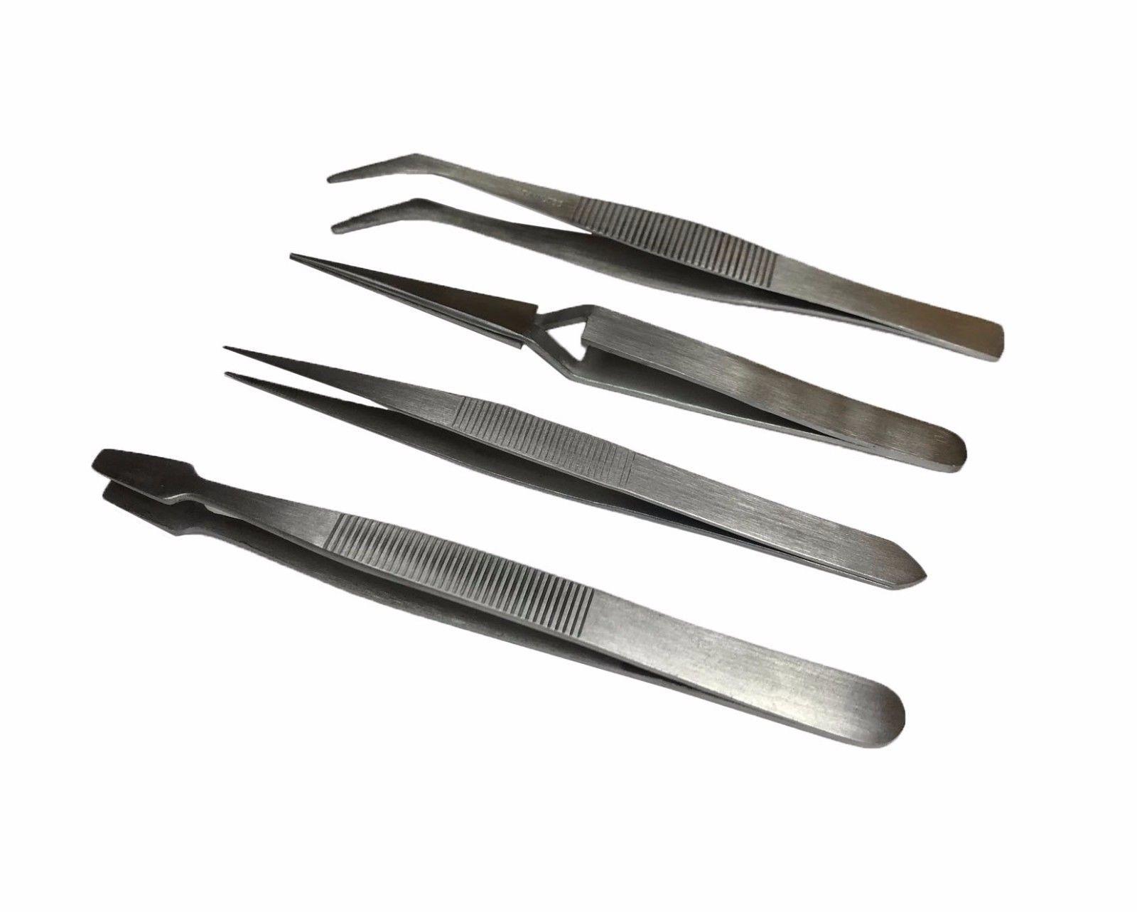 RDGTOOLS 5PC Diamond TWEEZER Set Pick UP Tool Slide Locking Shovel TWEEZER FINE T